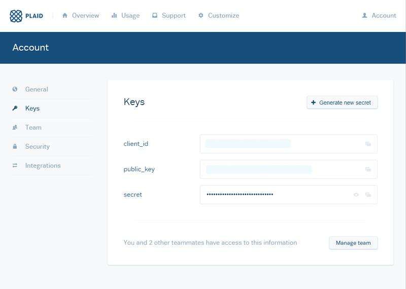 Plaid's minimalist dashboard