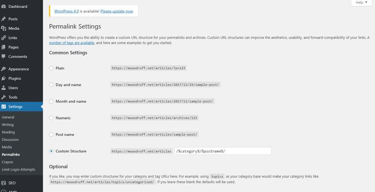 Permalinks options in the WordPress Admin